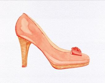 Pumps High Heel Unframed Watercolor Art Print