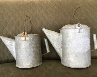 2 Galvanized WATERING CANS #6 #9 same style and shape