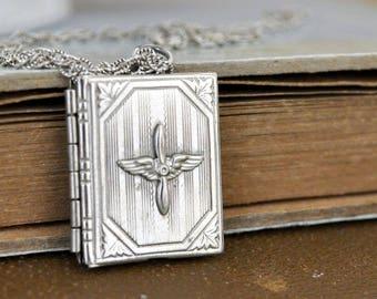 vintage military wing locket, AVIATOR, vintage book style sweetheart locket necklace