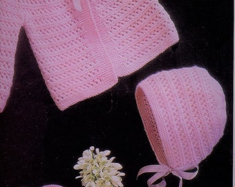 BABY KNITTING Pattern - Baby jacket, Bonnet and Booties/Bootes 19-20 inch chest size
