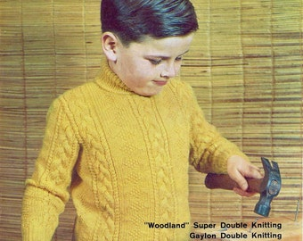 Knitting Pattern - Boy's Sweater Jumper Cable Polo Neck  - 26 and 28 inch chest DK download