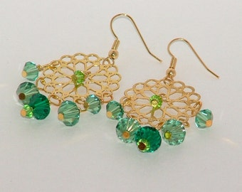Green And Gold Swarovski Crystal Earrings