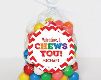 Valentine's Day Stickers - Valentine, I Chews You - Sheet of 12 or 24