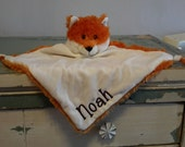 Personalized monogram fox cubbie blankie,baby shower gift,security blankie