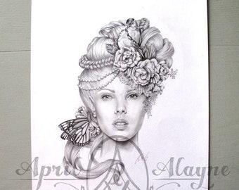 Balsamine- Illustration- portrait -Black and white- 8 X10 signed print- woman- new beginnings- fine art