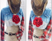Country girl fall flannel crop top, French country lace denim shirt, Boho chic fall clothing, Romantic shabby top, true rebel clothing M