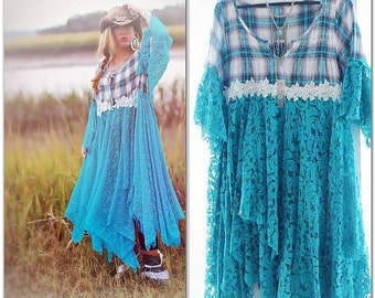 Boho tunic dress, South Western Turquoise Bohemian dress, Romantic clothing for gypsy women, Spell and gypsy dress, True rebel clothing M L