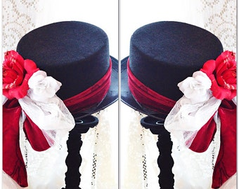 Red velvet Victorian Christmas hat, Stevie Nicks style red Christmas Top hat, Gypsy spell bohemian black hat, Steampunk, True rebel clothing