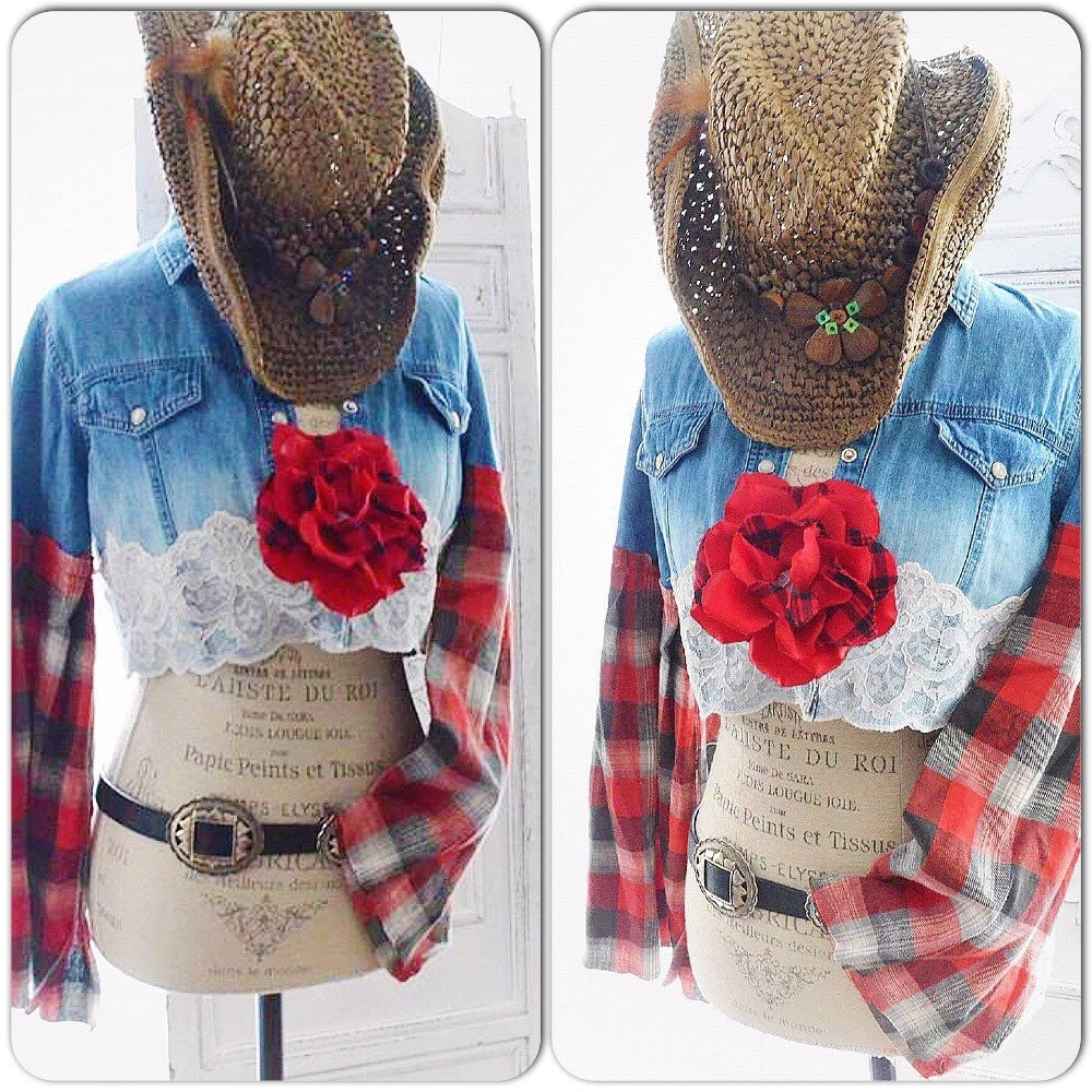 Country girl fall flannel crop top french country lace denim for Country girl flannel shirts