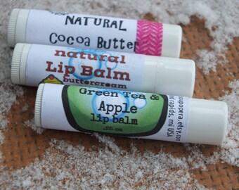 Lip Balm Gift Set -FREE SHIPPING- 3 full-sized tubes of Lip Balm: Black Cherry,Green Apple Tea & Buttercream for one LOW price!