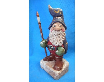 Hand Carved Wizard Santa Claus with Staff #17012