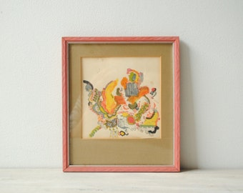 Vintage Abstract Ink Drawing, Vintage Child's Artwork