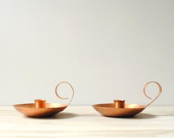 Vintage Copper Candle Holder Set