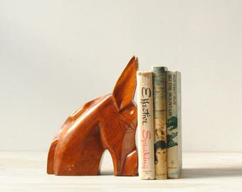 Vintage Horse Bookend, Carved Wood Bookend, Horse Bust