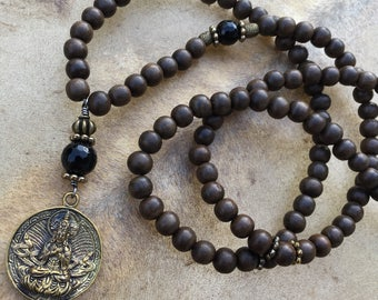 108 Bead Mala Necklace Buddhist Mala Greywood Mala Beads Black Onyx Zen Meditation Gift Yoga Meditation Necklace Prayer Bead Necklace Buddha