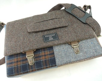 "Men's  Messenger bag ,Laptop bag, 13"" Messenger bag Macbook,Laptop Sleeve, Vintage, Wool, Trunk Latch,Recycled Suit Coat"