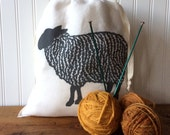 Knitting Project Bag, Organic Linen Drawstring Bag, Sheep Design