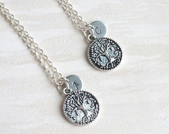 Best friend gift set of 2, 3 Tree of life Necklace With Initials Tree Personalized Necklace Bridesmaid jewelry Best Friend necklace set 2, 3