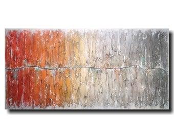 Original Large Abstract painting - 24 X 48 JMJartstudio- Beyond Reason-Wall art-wall decor - Gray painting