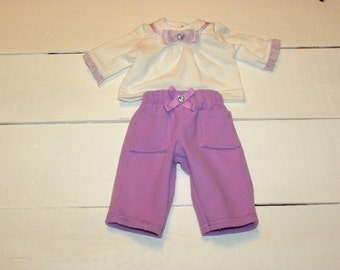 Lilac Fleece Pants and White Tshirt - 16 - 17 inch doll clothes