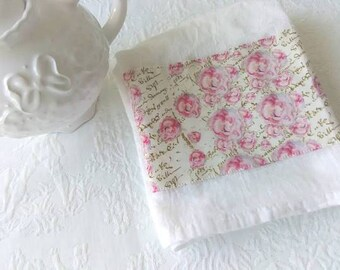 Gorgeous  Colorful Pink  Shabby Roses and Cream French Text Fabric Trimmed Flour Sack Towel Kitchen Towel Tea Towel All Cotton