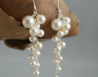 Pearl Wedding Earrings. Bridal Earrings. Statement Earrings. Ivory Pearl Earrings. Long Cluster Earrings. Wedding Jewellery. White pearls.