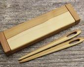 Nalbinding Needle Set of 2 with Box - Apple wood - Tapestry needle - Heirloom - OOAK - Needlecraft Sewing Viking Embroidery Floss 17042405