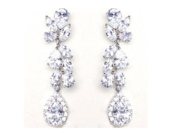 Crystal Tear Drp earrings Silver CZ Bridal dangle earrings Jewelry Rhodium plated Crystal Wedding Earrings