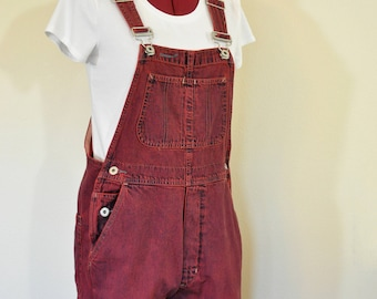 Red Small Bib OVERALL Pants - Scarlet Red Dyed Upcycled Vintage Gap Denim Overalls - Adult Women Size Small (34W X 27L)