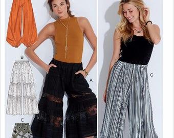 Wide Leg Pants Pattern, Loose Fit Pants Pattern, Ladies Elastic Waist Pants Pattern, Palazzo Pants Pattern, McCall's Sewing Pattern 7576