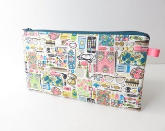 Liberty Lawn 'Forget-Me-Nots' zippered pencil case