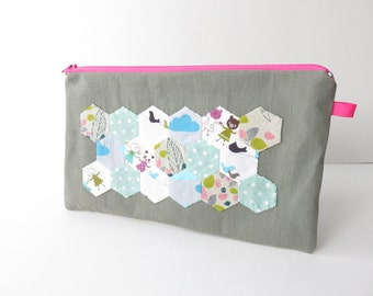 Hexie Applique zippered  large case