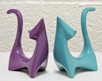 Customize Your Colors - Ceramic Cats Mid Century Modern Sculpture Retro Atomic Figurines Shown in Purple and Aqua - Made to Order
