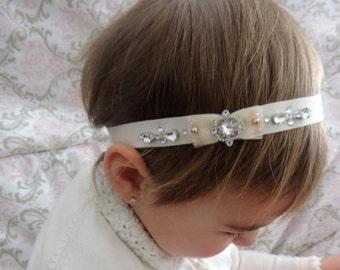 Swarovski Elements Rhinestone Baby Headbands, Couture Baby Headband, Infant Headband, Toddler Headband, Girl Headband, baby baptism