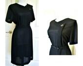 Vintatge 50s Berkshire black dress, size 10 medium, black dinner dress, black work dress