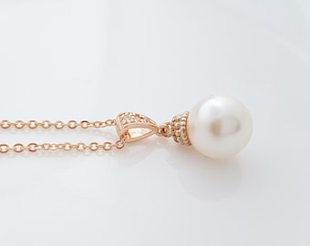 Single Pearl Rose Gold Necklace Ivory White or Cream Swarovski Pearl Pendant Necklace, Ava
