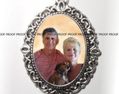 RESERVED FOR ALLJOY - Personalized Antique Silver Pendant or Ornament with Photo of Your Choice -  Free Shipping