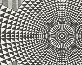 vintage 70s mesmerizing optical illusion realistic art print book plate black white design retro home decor mod geometric picture wall 17/18