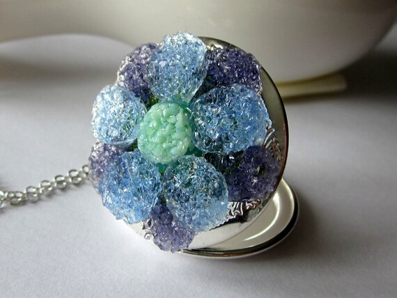 Periwinkle Flower Locket Necklace