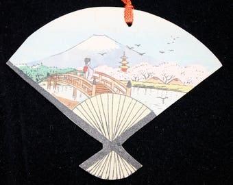 Vintage Bridge Tally Card, Japanese Fan