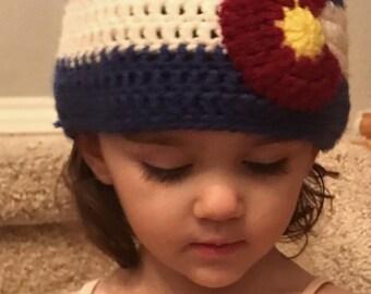 Colorado flag hat// crochet hat// winter hat// crochet beanie