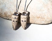 2 handmade clay pottery ceramic charms for earrings - wizzard totem 3,2cm  headpins earthy supply - african tribal masks