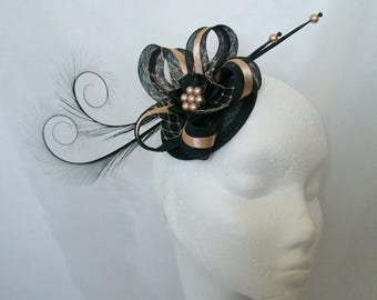 Black & Latte Nude Pheasant Curl Feather Sinamay and Pearl Isabel Wedding Fascinator Mini Hat Ascot Derby - Made to Order