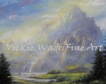 Mountain Landscape Oil Painting, radiance, beautiful mountains, lake waterfall, sun rays, original oil painting, Vickie Wade Art