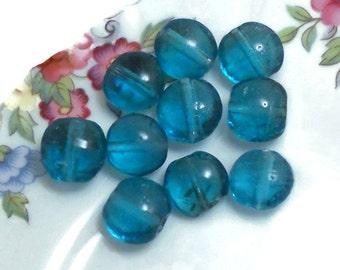 Vintage Glass Beads,Vintage beads,Capri beads,6x9mm,Lentil beads, vintage findings, Sapphire Beads,Blue Lentil Oval Unique beads Flat #18