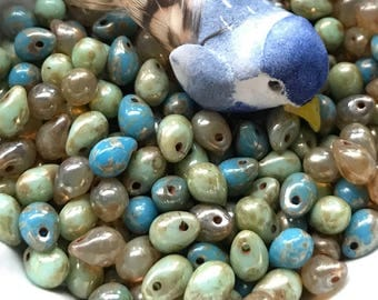Czech Teardrops,Czech glass beads drops , translucent opaque green mint and blue with picasso ,Turquoise Beads,Bird eggs beads, 5x7mm #740X