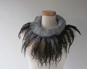 Fur collar Curly Felted collar Grey felt collar  Grey Brown Fur scarf  Pure Wool Fleece real fur scarf Felt necklace