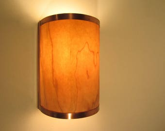 Rustic Wall Sconce Light - Copper with Cherry Wood - Electric Hardwired Fixture - Unique Lighting