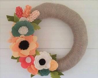Spring wreath, summer wreath, yarn wreath, felt wreath, wildflower wreath, wool felt flower wreath,autumn wreath,home decor, wedding decor