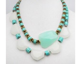Chunky Turquoise Necklace. Aqua Quartz Pendant. Southwest Necklace. Big Stone Necklace. Chunky Necklace. Bold Turquoise. TaraLynEvans. ADA